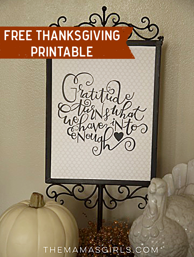 Free Gratitude Printable for Thanksgiving