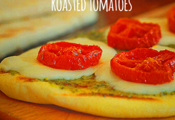 Grilled Flatbread with Pesto, Fresh Mozzarella & Roasted Tomatoes