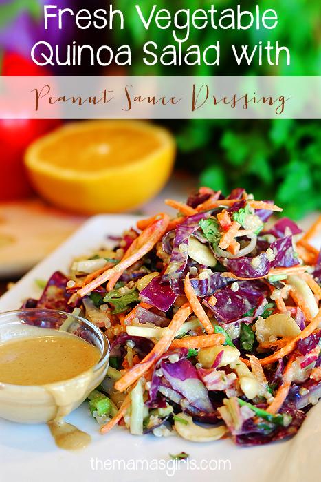 Fresh Vegetable Quinoa Salad with Peanut Sauce Dressing