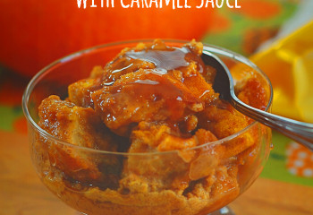 Rhodes Pumpkin Bread Pudding with Caramel Sauce