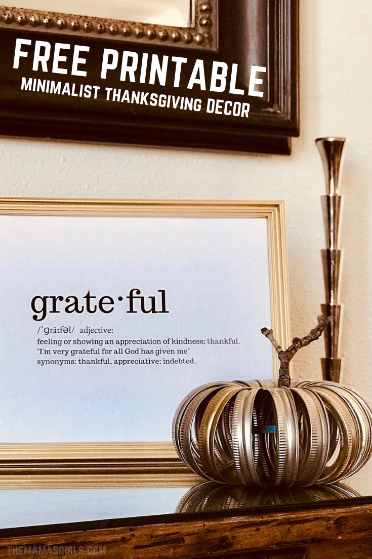 Free Minimalist Grateful Printable for Thanksgiving