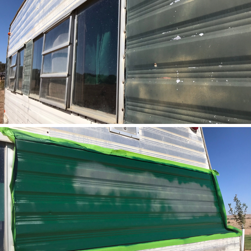 spray paint camp trailer